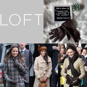 LOFT Brown Leather Gloves | M